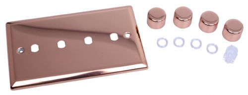 Varilight WYD4.CU Urban Polished Copper 4 Gang Dimmer Plate Only + Dimmer Knobs